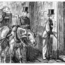 Two men just out of a horse-drawn cab stand outside a door a woman has half opened