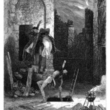A woman is abducted by a man who carries her toward the doorway of a partly demolished building