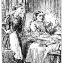 A woman sitting in her bed eagerly opens a letter while her nurse waits at her side