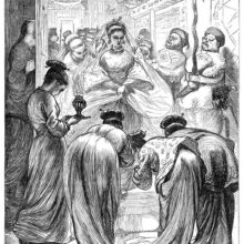 A woman is accompanied by her suite to the entrance of a room where four maids are awaiting her