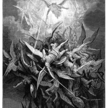 A winged figure armed with a sword sends panic and disarray among a clutter of rebel angels