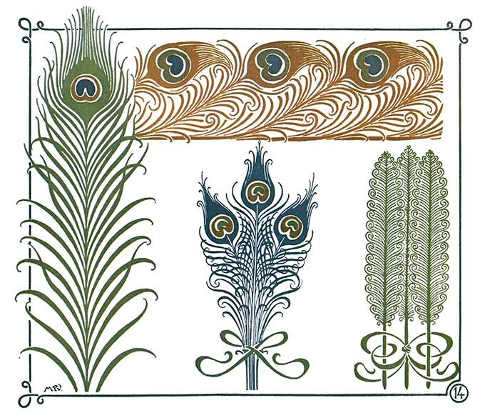Color plate showing various Art Nouveau ornaments inspired by peacock feathers