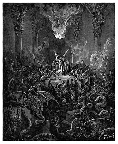 A hall is filled with dragons and snakes as a human-like winged creature stands up from a throne