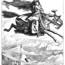 A man rides a horse galloping in the sky, high above the mountain tops, with a woman behind him