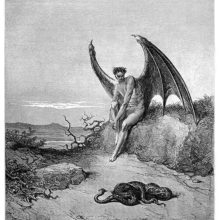 A winged creature is sitting on grassy bank, giving a snake lying on the ground an intense look