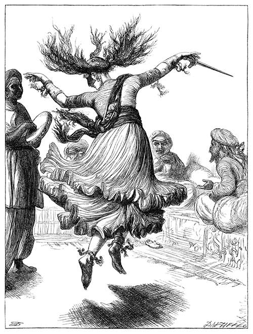 A dancing woman is leaping to the sound of a tambourine, her hair floating around her head