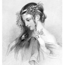 Depiction of Ophelia, a noblewoman of Denmark betrothed to Hamlet, in Shakespeare's eponymous play