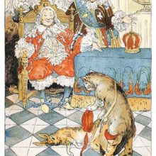 A king is sitting in a chair as Puss in Boots pulls a dead rabbit out of a bag and bows before him
