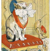 Puss in Boots sits dignified on a cushioned stool, wearing a medal and a puffy white bow
