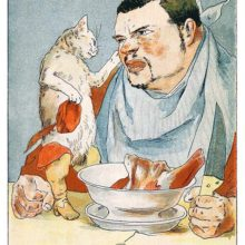 Puss in Boots mellows out the ogre who is sitting before a bowl full of raw meat