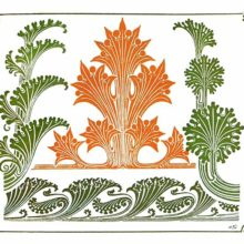 Color plate showing Art Nouveau foliage ornaments inspired by natural plant shapes