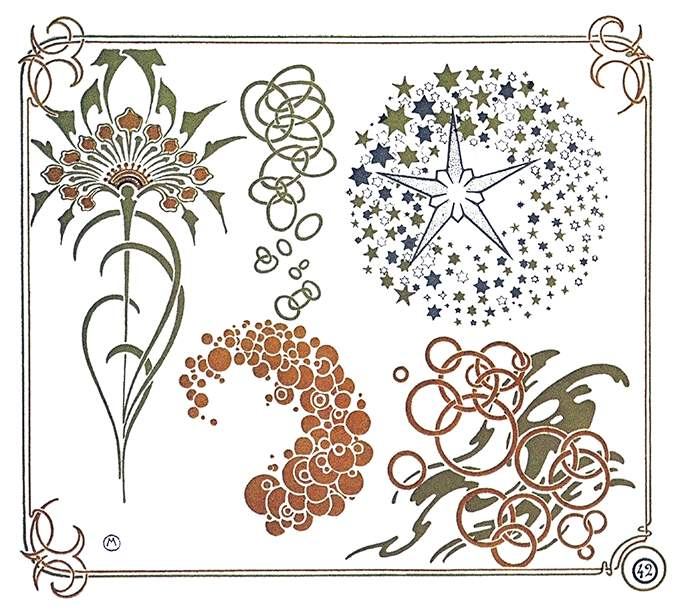 Color plate showing Art Nouveau ornaments inspired by dandelion flowers and leaves