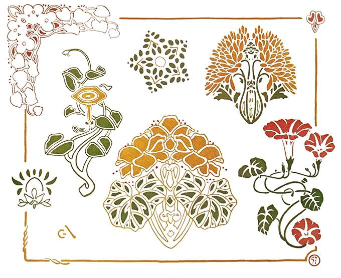 Color plate showing Art Nouveau flower and foliage ornaments, including morning glory flowers