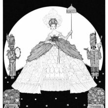 A woman in elaborate dress assisted by two page boys holds a parasol as the moon shines behind her