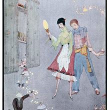 A young man and woman watch a black pudding come to life before them as fairies flutter about