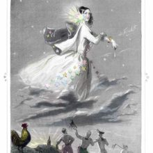 A female figure standing on clouds passes across the sky, a starry flower stuck in her hair