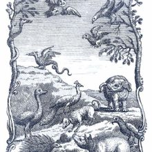 Creatures including an elephant, an owl, a dragon, etc. can be seen on an uneven stretch of land