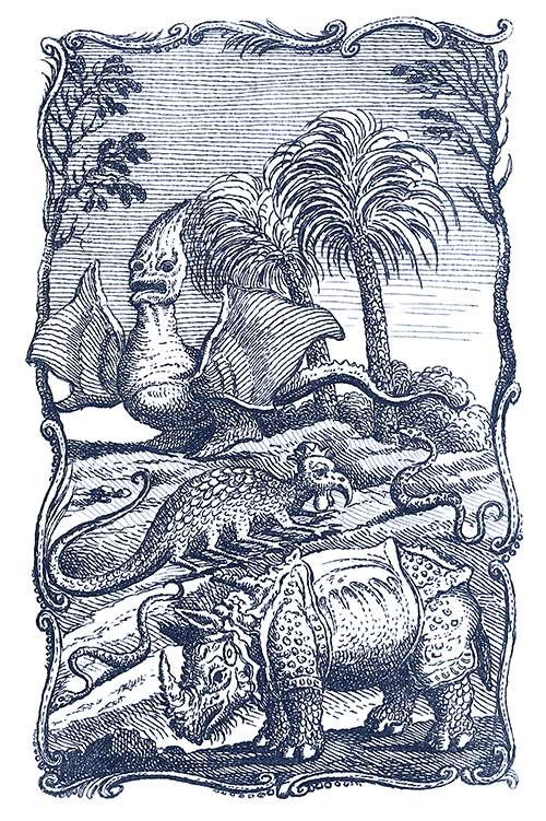 A rhinoceros, a snake, and two imaginary creatures can be seen in a landscape with palm trees