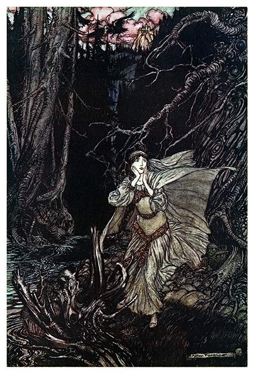 A woman with her cape and dress floating around her stands in a dark forest looking scared