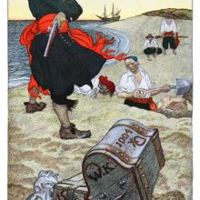 A pirate wearing a red sash stands on a beach next to a chest as two men dig a hole in the sand