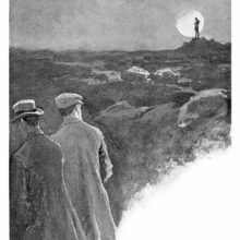 Two men are walking on a moor as a silhouette in the distance stands out against the moon