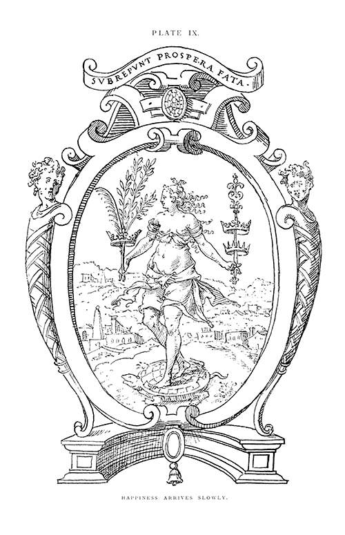 Good Fortune is represented as a young woman standing on a tortoise and carrying various symbols