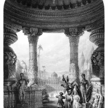 Interior view of a pavilion showing statues and lavish and intricate architectural decoration