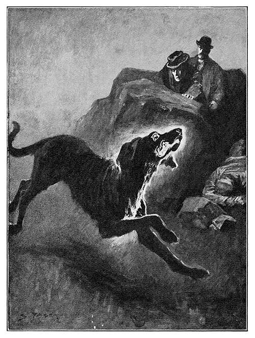 A crazed-looking dog comes racing forth as two men watch in the background, hidden behind a rock