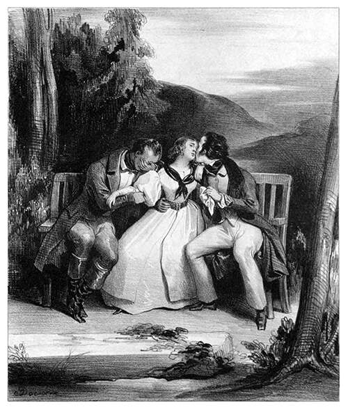 A young woman is sitting on a bench between two men, one kissing her, the other crying