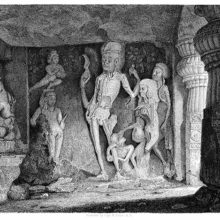 Group of figures carved on the walls of the Rameshwar Temple at the Ellora caves
