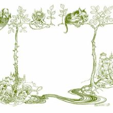 endpapers from Undine joined together & showing a scene with creatures on branches, gnomesetc.