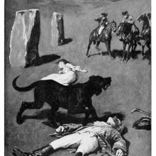 The bodies of a man and a woman lie on a moor, a large hound between them