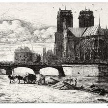 Notre-Dame Cathedral as seen from the East, with The pont de l'Archevêché & the former Hôtel-Dieu