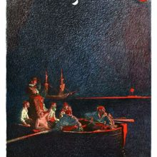 Sailors are watching from a rowboat a fire in the night, of which only the red glow can be seen