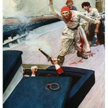 A sailor wounded in the leg brandishes a belaying pin while moving toward a covered hatch
