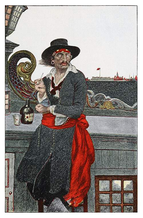 A man wearing a gray coat, a red sash, and a hat stands on the poop deck of a ship smoking a pipe