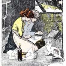 A cat comes begging for food to a boy and a girl eating on the floor of an abandoned building