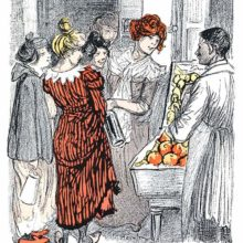 A group of cheery women bargains with a street seller over some fruit