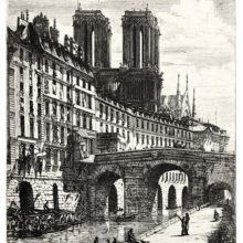 view view of the quai du Marché-Neuf showing the former Hôtel-Dieu, the Petit-Pont, and Notre-Dameof the quai du Marché-Neuf showing apartment buildings, the Petit-Pont, and Notre-Dame