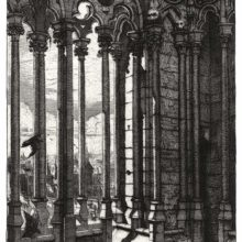 View of the Chimera gallery at Notre-Dame, showing the colonnade and crows fluttering about