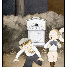 Two boys in plus fours are running away from a swarm of bees coming out of a beehive