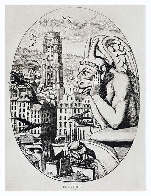 An anthropomorphic chimera leans over a balustrade of Notre-Dame Cathedral, overlooking Paris