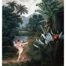 While walking through luxuriant vegetation, Cupid aims his arrow at a group of flowers