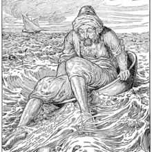A man sitting in a large basin barely manages to stay afloat on the open sea