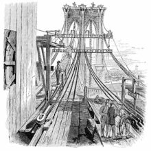 The Brooklyn Bridge under construction, with worker's walkways and cables being spun