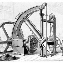 Perspective view of the Corliss gear cutter, designed for cutting the teeth of large bevel gears