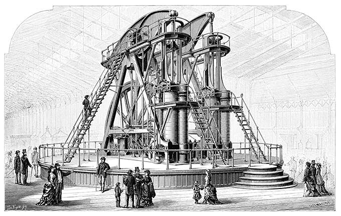 View of the steam engine built by George H. Corliss for the Centennial Exhibition of 1876