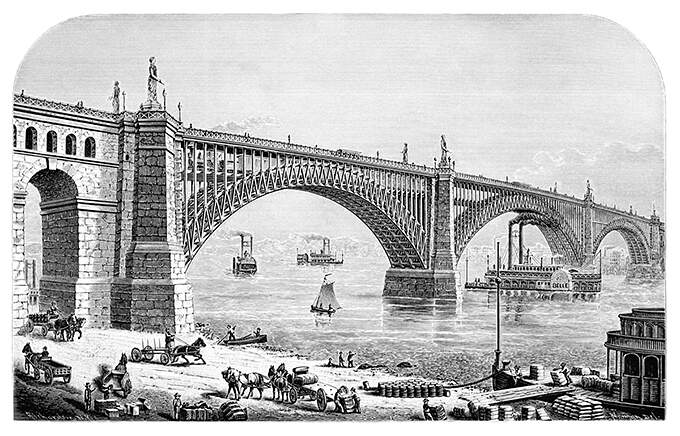 Eads Bridge and the Mississippi riverfront busy with horse-drawn carts