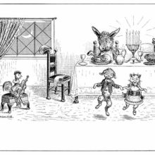 A cat and a dog dance to a chicken playing the guitar while a donkey sits at the dinner table