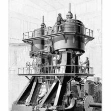 Perspective view of a compound steam engine of a design used in ocean steamers